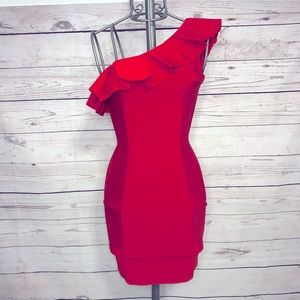 Few Moda New York One Shoulder Red Dress